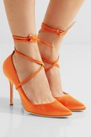 ingrosso i pattini dell'alto tallone di colore arancione-2017 donne pompe di raso cinturino alla caviglia di colore arancione tacchi alti scarpe da sposa tacco sottile sexy tacchi punta pompe a punta