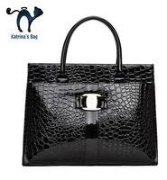 Wholesale Painted Satchel - Wholesale-New Arrival Crocodile Pattern Women Handbags Female Paint Patent Leather Bag Ladies Famous Brand Shouder Women Messenger Bags