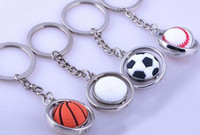 Wholesale novelty led key chain for sale - Group buy Basketball Football Golf Keychain Men Mini Simulation Rotatable Ball Key Chains chain key rings keyring novelty promotion gift