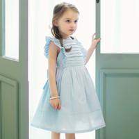 Wholesale Puff Vests - Summer New 2017 Children's Dresses Girls Dress Puff Sleeveless Pleated Ruffle Kids Bowknot Princess Vest Dresses Blue Girl Party Dress A6283