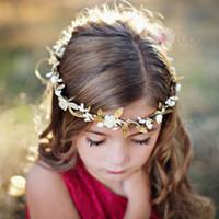 Wholesale Headwear Garland - Baby Hair Beach Garlands DIY Gold Leaf Flower Headbands Girl Elastic Garland Wedding princess headwear Children Hair Accessories KGA09