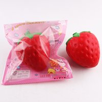 Wholesale big phone tv for sale - Group buy cm big Colossal strawberry squishy jumbo simulation Fruit kawaii Artificial slow rising squishies queeze toy bag phone charm