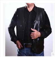 Wholesale Leather Motorcycle Vest Jacket - Wholesale- High quality Men's PU Leather vest Clothing Motorcycle Vest w 14 Patches Halley Punk Vest Sleeveless Jacket New