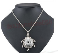 Wholesale Party Turtles - Noosa Snap button Turtle Pendant Necklace With Rhinestone Fit 18MM & 20MM NOOSA Chunks ginger Snap Button Fashion Jewelry Gift For Women
