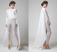 perla de 12 piezas al por mayor-2019 Nuevos vestidos de noche blancos Pantalón de encaje de gasa de dos piezas Pantalón transparente Manga larga Vestidos de noche Elio Abou Fayssal con chaqueta 1