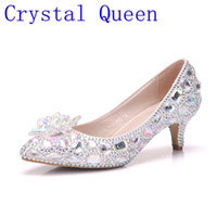 Wholesale Low Kitten Heel Silver Shoes - Crystal Queen 5cm Thick Heel Crystal Women Shoes Pumps 5cm Rhinestone Heels Silver Rhinestone Women Wedding Shoes Low Heels