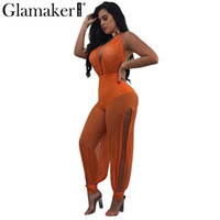 Wholesale Halter Mesh Jumpsuit - Wholesale- Glamaker Deep v neck halter mesh jumpsuit romper Summer casual jumpsuit women Sexy party loose transparent jumpsuit overalls