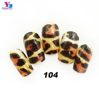 Wholesale New Fake Glue Nails - Wholesale- New Design Artificial False Nails Full Cover Sexy Leopard Product Fake Nails Faux Ongels With Glue Acrylic Nail Art Tips Beauty