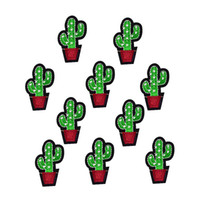 Wholesale 10PCS cactus patches for clothing iron on patch applique iron on embroidery patches sewing supplies accessories badge stickers on clothes