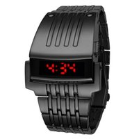 Wholesale Iron Man Conception Watch - High Quality NEW Fashion Luxury Iron Man Conception Blue OLED LED Digital Sport Wrist Watch Mens Stainless Steel Watches Relogio Masculino