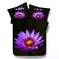 ingrosso coperte di piumini viola-Top 7 Stili Noble Purple Flower 3D stampato Bedding Set Twin Full Queen King Size copriletti Copripiumini Copripiumini Lotus 3 / 4PCS