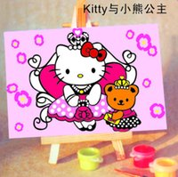 Wholesale Diy Painting Kids - Handpainted Framed 1Set DIY Digital Oil Painting By Numbers Hello Kitty Canvas Pictures For Kids Drawing Oil Painting