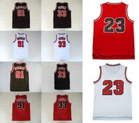 Wholesale Lining Basketball - 2017 Top quality men basketball Jerseys # 23 Michael 33 Pippen 91 Rodman red black white retro line throwback mesh Embroidery Stitched sale
