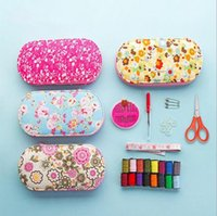 Wholesale Sewing Box Kits - Fashionable floral portable mini needlework box travel kit sewing receive a case of household sewing tools to Mums gift
