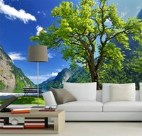 Wholesale Nature scenery tress and lake d wall mural wallpaper for TV sofa background d photo mural Papel de parede home decor