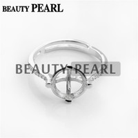 Wholesale Round Ring Mount Setting - Bulk of 3 Pieces Ring Setting for 10mm Round Cabochons Zircon 925 Sterling Silver Pearl Ring Mount
