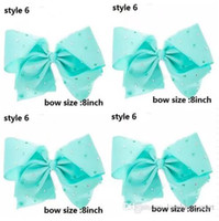Wholesale Rhinestone Big Hair Bow - 8 inch Huge Big Bow Clip Boutique jojo Hair Bows Rhinestone Mint Hair Bow Girl's Mint none 15pcs
