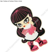 Wholesale Doll Patch - Draculaura Monster High Dolls LOGO Pink Bow Skull TV Movie Film Cutie iron on patch skeletons horror goth punk rock applique