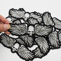Wholesale Skull Iron Embroidered Patch - 1pcs punk wings skull badges patches for clothing iron embroidered patch applique iron on patch sewing accessories for clothes