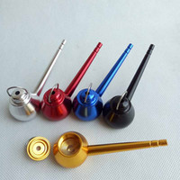 Wholesale Tea Bowls Wholesale - tea pot teapot Kettle Shape Mini Metal Smoking Tobacco Pipe Herb Hand Pipe Tool Accessories 5 COLORS Aluminum Alloy Dabber Bubbles Bowls