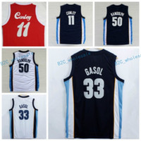 Wholesale White Navy Uniforms - Hot Sale 33 Marc Gasol Jersey 1970 Sounds Red Navy Blue White Throwback 50 Zach Randolph Shirt Uniform 11 Mike Conley High Quality