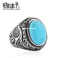 Wholesale rings for men opal - Dhgate 2017 Natural Oval Opal Green Stone Ring Stainless Steel Vintage Nobel Palace Ring For Woman Man Europe BR8-186