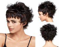 Wholesale Short Wig Cap - Women Short Curly Wig Fashion Charm Lady Light Brown High Quality Heat Resistant Hair Wigs Black Women Wigs+Free wig cap