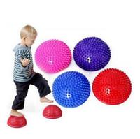 ingrosso esercizi palla palla-8 Colori Yoga Mezza Palla Apparecchio di Fitness Fisico Esercizio Equilibrio Palla Punto Massaggio Stepping Stones Balance Ball per Bambini CCA7489 15 pz