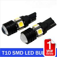pacote vermelho conduzido venda por atacado-10 / lot 12V T10 5 W 5 lâmpadas LED para Auto Lâmpada Do Carro COB Lente Do Projetor Interior Embalagem Car Styling luz
