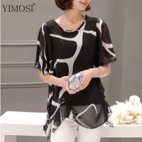Wholesale summer korean blouse long sleeve - YIMOSI Women Summer Blouse Loose Shirts 2017 Fashion Korean Style Print Lady Shirt Female Chiffon Max Blusas Plus Size 5XL Tops