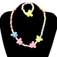 Candy Color Beads Girl Enfants Papillon Party Princesse Bijoux Collier Enfants Cadeau de vacances Perles rondes Collier bracelet Set C097