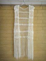 Wholesale Striped Beach Cover Ups - Crochet Vest With Fringe Women Hippie Festival Top Beach Bikini Cover Up