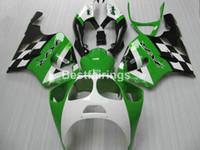 zx7r abs bayrakları toptan satış-Kawasaki Ninja ZX7R 1996-2003 için tam ABS vücut parçaları kaporta kiti yeşil beyaz siyah kaportalar set ZX7R 96-03 TY62
