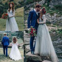 Wholesale Long Dress Vneck - Bohemian Dusty Blue Tulle Vintage Wedding Dresses 2017 VNeck Backless Lace Appliques Beaded Long Bridal Gowns Custom Made China EN5044