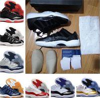 zapatos baratos del envío de los precios bajos al por mayor-11s de baja calidad navy gum concord barons blanco rojo zapatos de baloncesto con tamaño de caja 36-47 de calidad superior envío gratis precio al por mayor