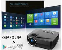 android tv box gps al por mayor-Nuevo GP-70UP Proyector LED Android 4.4 Tv box tv Full HD DLAN WIFI Bluetooth 3.0 Soporte Miracast Airplay EZCast Multilenguaje Beamer