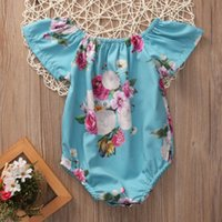 Wholesale Infant Girl Ruffle Rompers - 2017 Baby Girl Romper Infant Summer Ruffled Newborn Jumpsuit Ruffles Sleeve Clothes Bubble Toddler Produce Girls babies Rompers Roupas