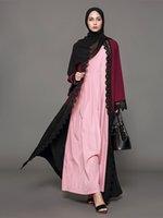 Wholesale new islamic - New Arrival Plus Size Muslim Women Long Sleeved Abaya Dress Islamic Lace Kaftan Dress S-5XL Robes
