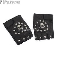 Wholesale men s fingerless leather gloves - Wholesale- PAZOMA UW27 Punk Handmade Gothic Motorcycle Biker Fingerless Leather Pair Glove Skull with STUD Chain