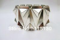 Wholesale Pyramid Spike Bracelet - Wholesale- New Arrivals Gothic Silver Plated Pyramid Studs Stretch Bracelets For Men Rock Punk Metal Spike Wrap Cuff Bracelets Men Jewelry