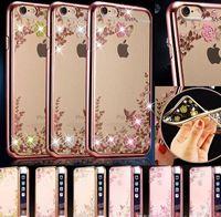 huawei g4 großhandel-Tpu abdeckung beschichtung fall geheimen garten Bling diamant blume fall für iphone 7 plus 5 s 6 6 s plus lg g4 g5 huawei mate8 p8 p9 plus