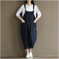Wholesale Womens Plus Wide Leg Pants - Wholesale- Womens Loose Jumpsuits Street Casual Overalls 2017 New Cotton Linen Plus Size 4XL Jumpsuit Clothes Rompers Women Wide Leg Pants