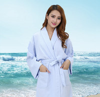 Wholesale Top Robes For Women - Waffle Cotton bathrobe women and men sleepwear bathrobes for women girls lovers long robe plus size Top Brand super soft free shipping