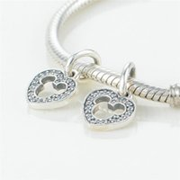 2015 nouveau Love Micky mouse pavé coeur Dangle Charms For Women Bracelets Bricolage 925 Sterling Silver Heart Charms Wholesale Free Shpping