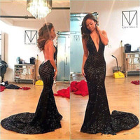 Wholesale New Fitted Evening Dress - 2017 New Fitted Black Sequin Prom Dresses Sexy Backless Plunging Neckline Long Evening Dress Party Gowns Mermaid Evening Gowns Deep V-Neck