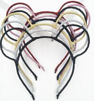 Wholesale Mice Ears Headband - Women Glitter Bear Ears Hairband Party Prop Mouse Headband Hair Accessories Headwear 20pcs lot