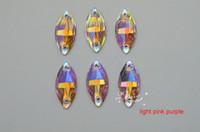Wholesale 24mm Acrylic Beads Wholesale - 100 pcs 11mm x 24mm Acrylic beads Navette Color purple Sew On Flat Back Jewels