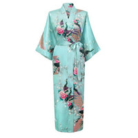 Wholesale Sexy Plus Size Robe Lingerie - Wholesale- Hot Sale Sky Blue Femmes Rayon Robes Gown Kimono Yukata Chinese Women Sexy Lingerie Flower Sleepwear Plus SizeS M L XL XXL XXXL