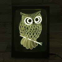 Wholesale Water Drop Frame - 3D Owl LED Photo Frame Decoration Lamp IR Remote 7 RGB Lights DC 5V Factory Wholesale Drop Shipping