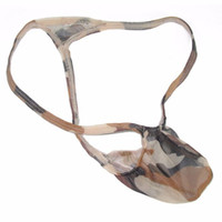 Wholesale Camo T - Mens Mesh Bulge Pouch Thong G4030 Sexy G-string T-back Camo pattern printed Sexy Underwear See Through